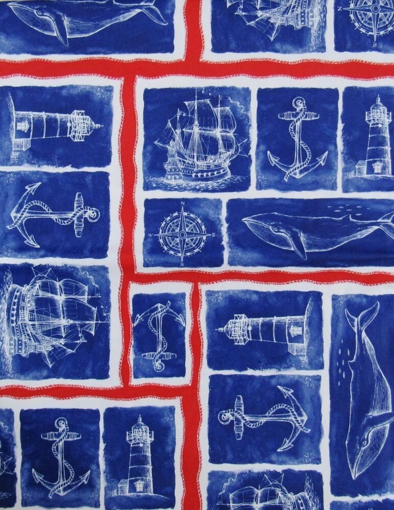 Lighthouse Ship Nautical Patchwork Vinyl Flannel Back