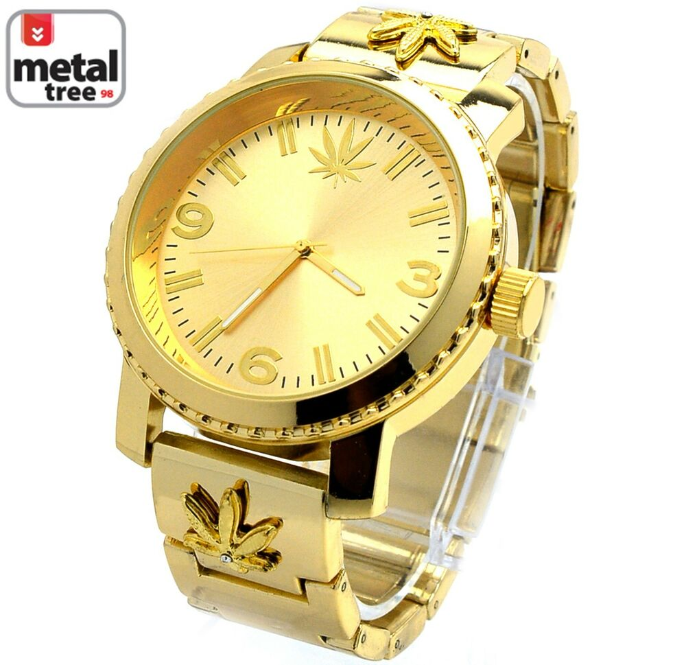 Men 39 s hip hop 14k gold plated heavy metal band techno pave for Rapper watches