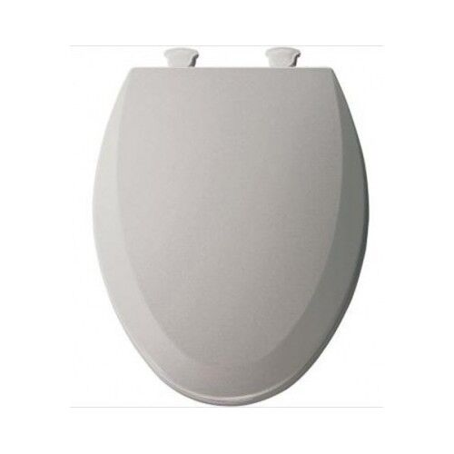 Elongated Silver Grey Toilet Seat Gray Closed Front Easy