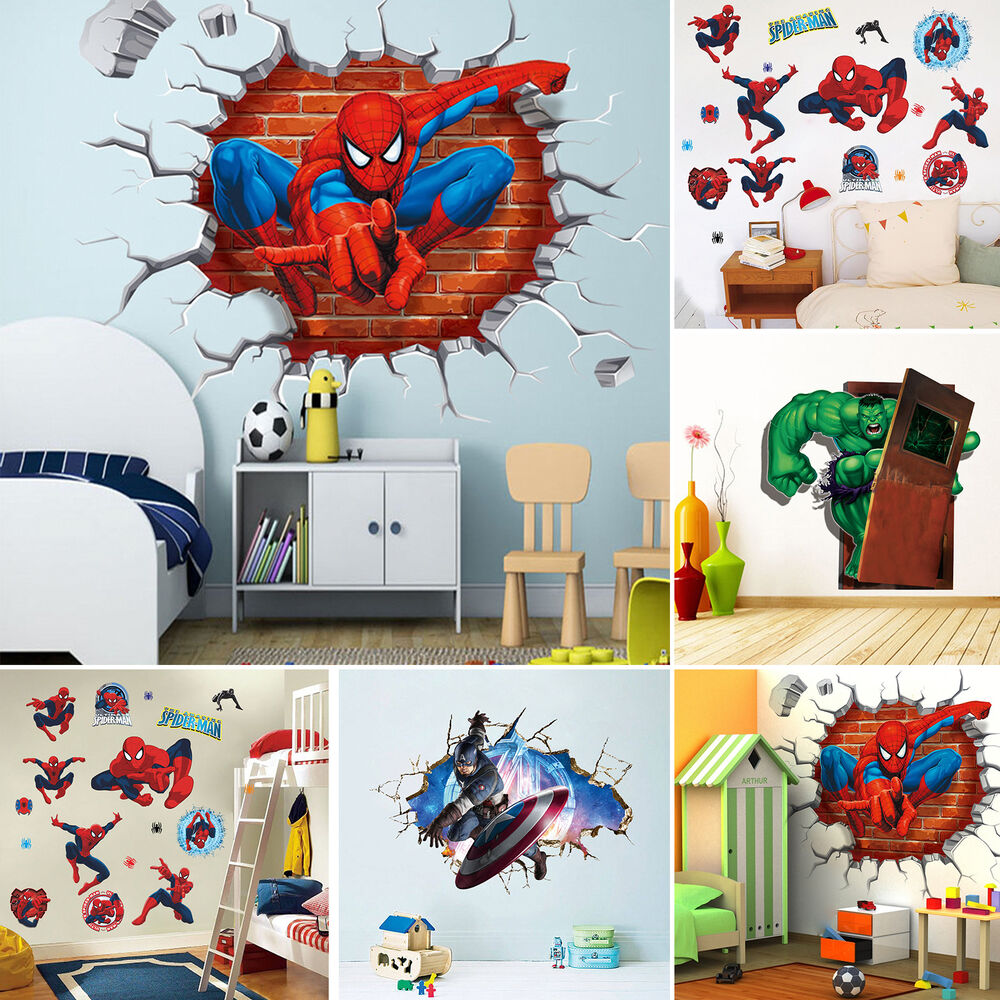 super hero avengers mural vinyl wall decal stickers kids nursery room decor diy ebay. Black Bedroom Furniture Sets. Home Design Ideas