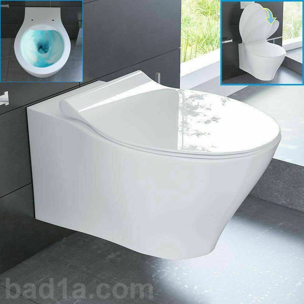 bad1a weiss keramik sp lrandlos h nge wc nano toiletten passend zu geberit ebay. Black Bedroom Furniture Sets. Home Design Ideas