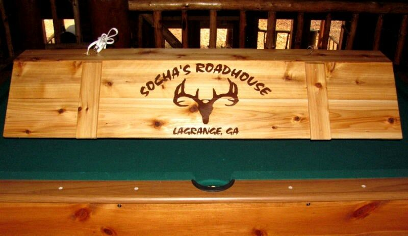 custom pool table light cue rack w your name logo ebay. Black Bedroom Furniture Sets. Home Design Ideas
