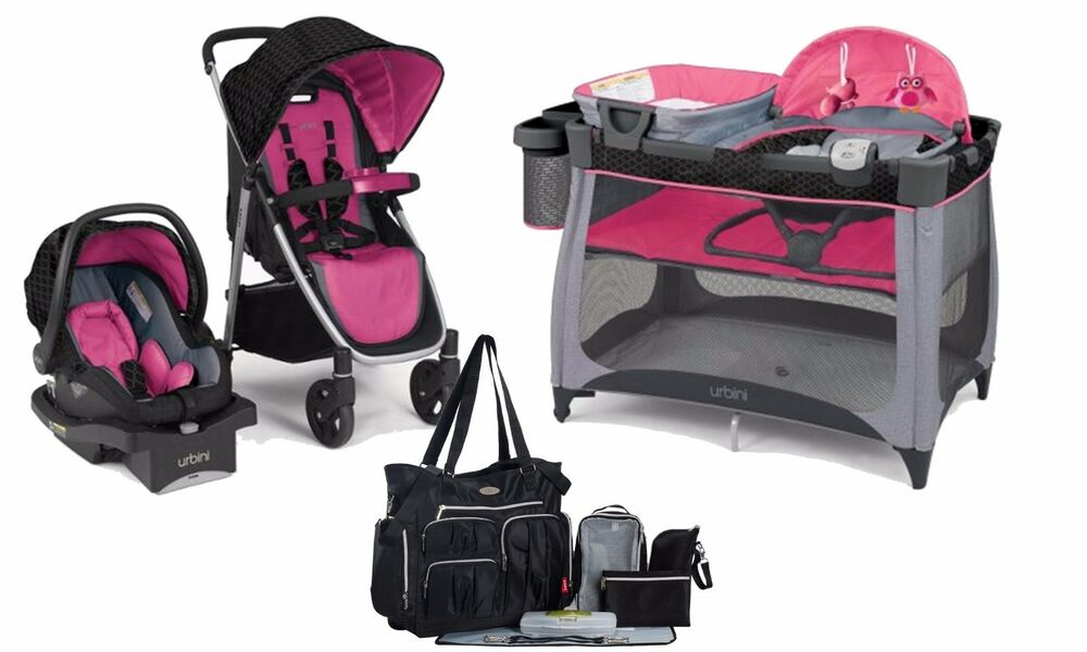 baby stroller car seat play pen newborn diaper bag travel system urbini new ebay. Black Bedroom Furniture Sets. Home Design Ideas