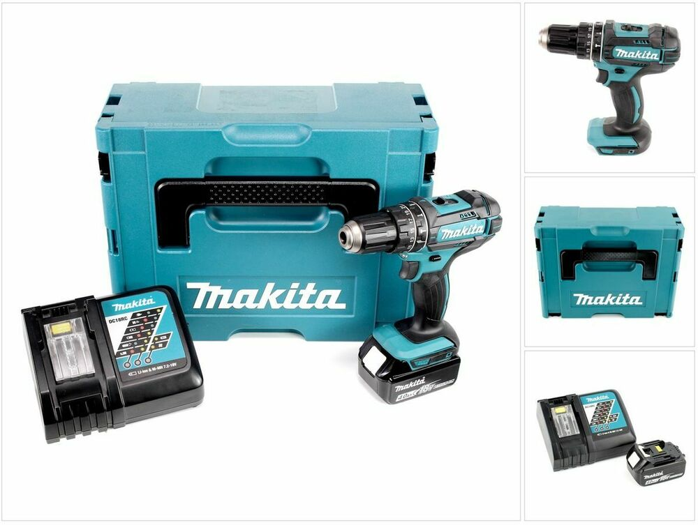 makita dhp 482 rm1j 18v schlagbohrschrauber makpac 1 x 4 0 ah akku lader ebay. Black Bedroom Furniture Sets. Home Design Ideas