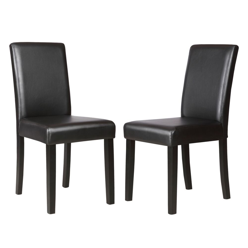 Set of 2 kitchen dinette dining room chair elegant design for Black leather dining room chairs