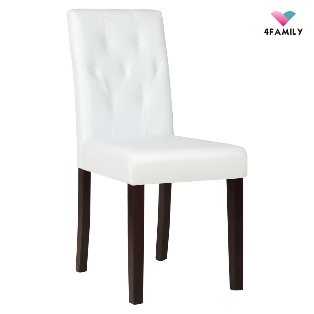 White Leather Dining Room Set: Elegant Ivory White Leather Dining Room Chair Kitchen With