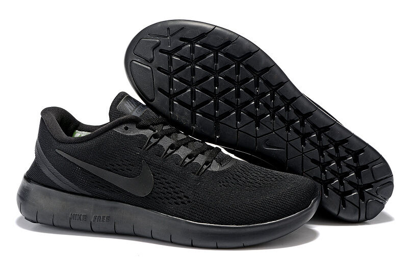 "NEW MENS ""ALL BLACK"" NIKE FREE RN - TRAINING SHOES - ALL ..."