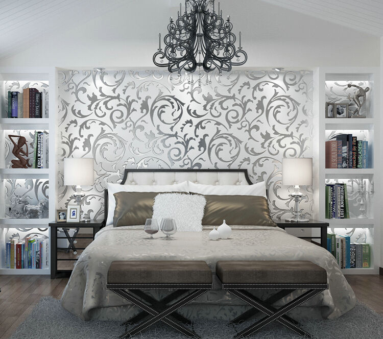 Victorian luxury 3d damask non woven wallpaper roll home for Grey silver wallpaper living room