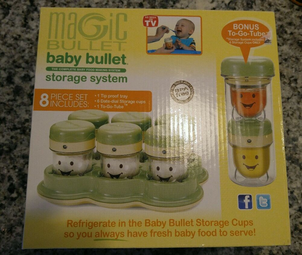 magic bullet baby bullet storage system 8 pieces bonus to go tube ebay. Black Bedroom Furniture Sets. Home Design Ideas