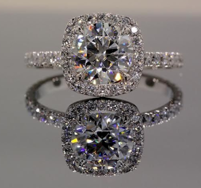 925 Sterling Silver Plated 2 Ct Simulated Moissanite Halo Ring Ebay