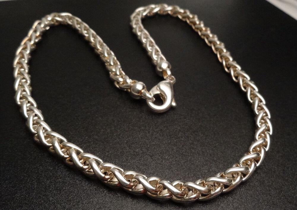 6mm Heavy Wheat Braided Chain Necklace 18 Quot Sterling Silver