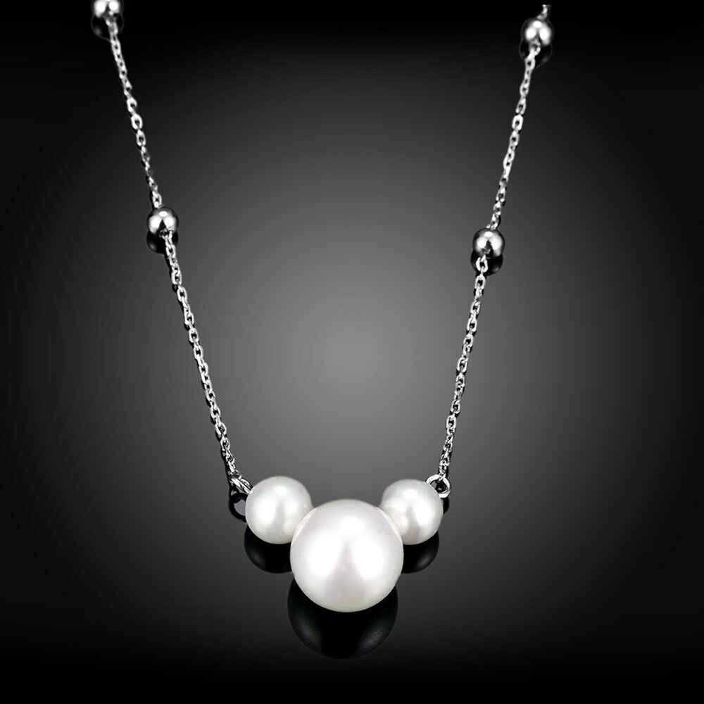 new lovely pearl pendant 925 silver women necklace jewelry. Black Bedroom Furniture Sets. Home Design Ideas