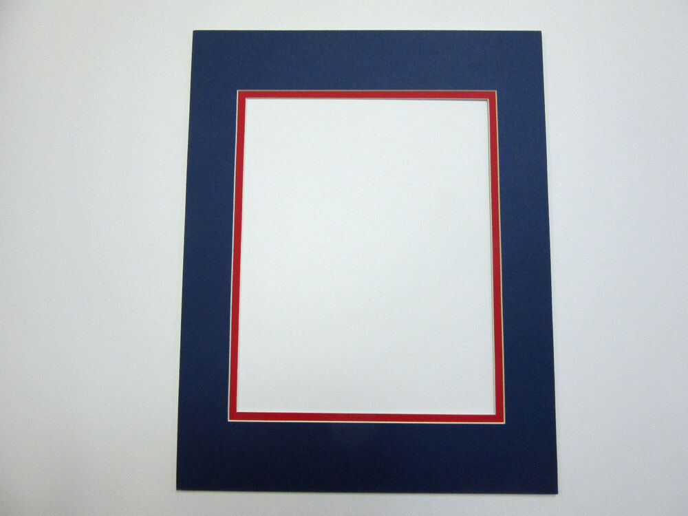 Picture Frame Double Mat 20x24 for 16x20 photo Blue with red liner ...