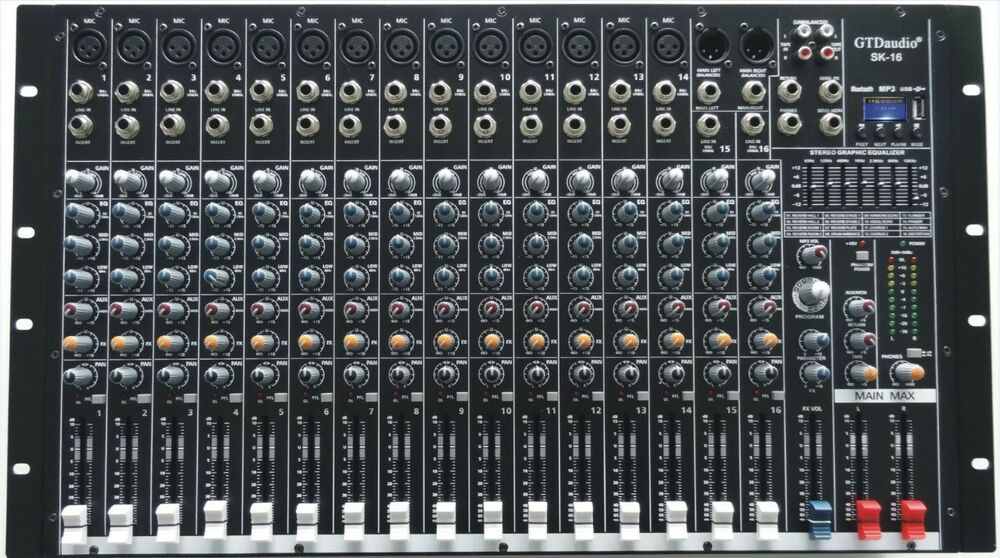 4000 watts 16 channel professional powered mixer power mixing amplifier amp sk16 854318007011 ebay. Black Bedroom Furniture Sets. Home Design Ideas