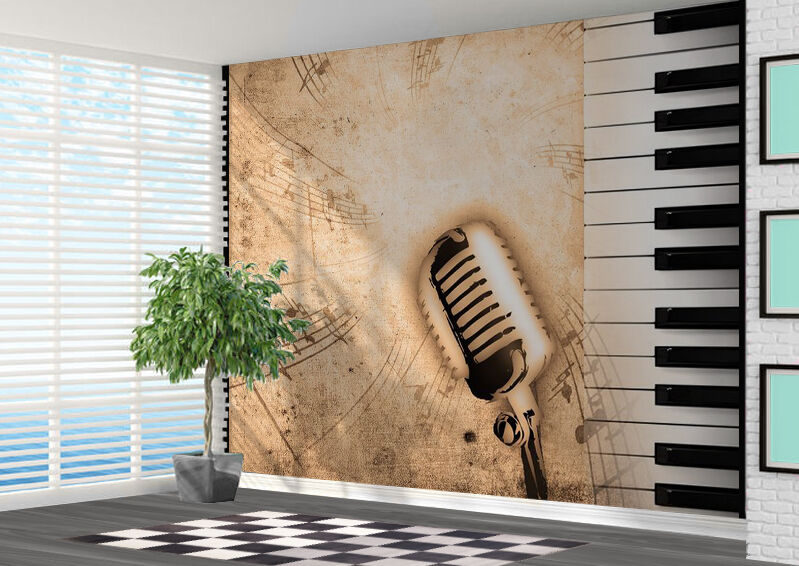 Piano microphone music notes wallpaper wall mural art photo 11007628 music ebay - Music note wallpaper for walls ...
