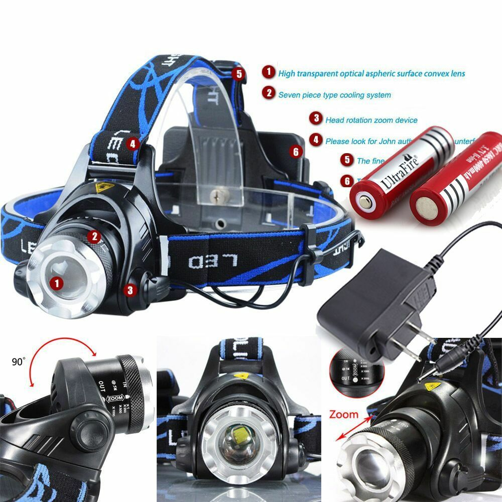 10000LM ZOOM Tactical T6 LED Headlamp Zoomable HeadLight ...