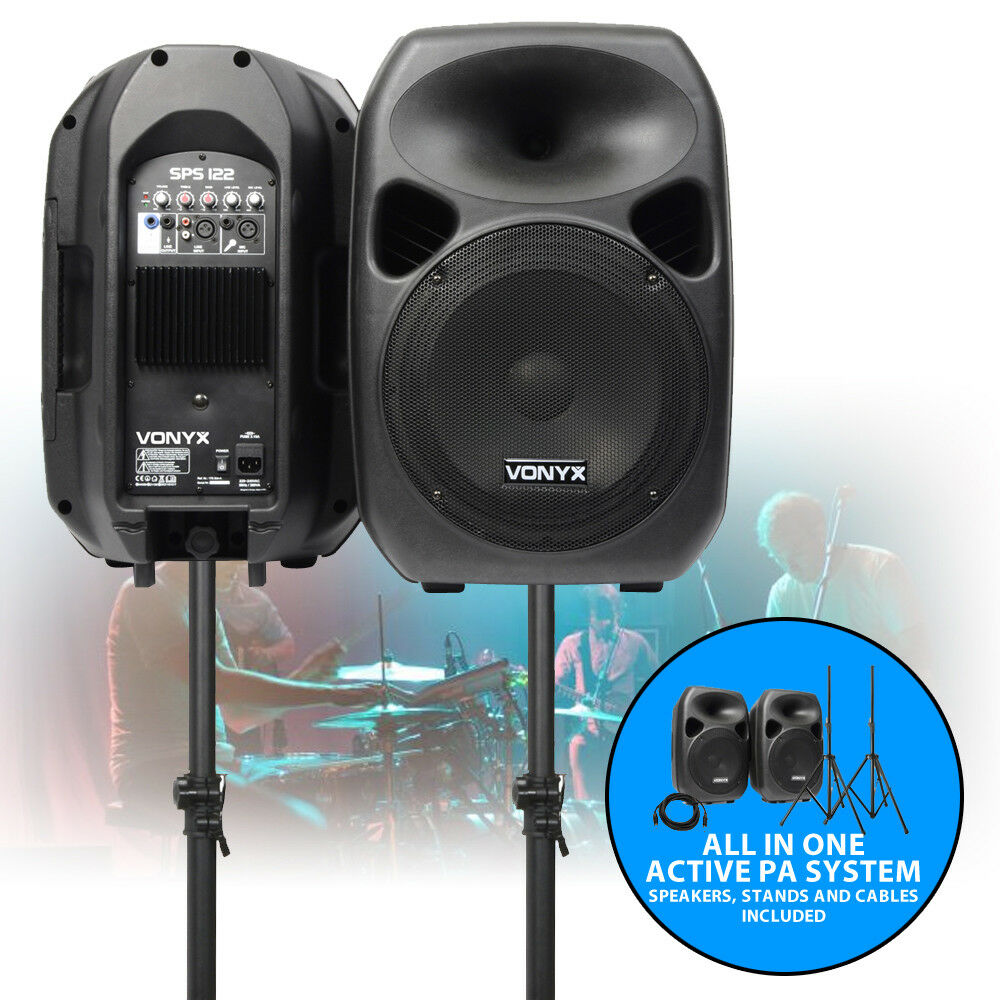 12 inch active speaker system portable dj disco pa package stands cables 700w ebay. Black Bedroom Furniture Sets. Home Design Ideas