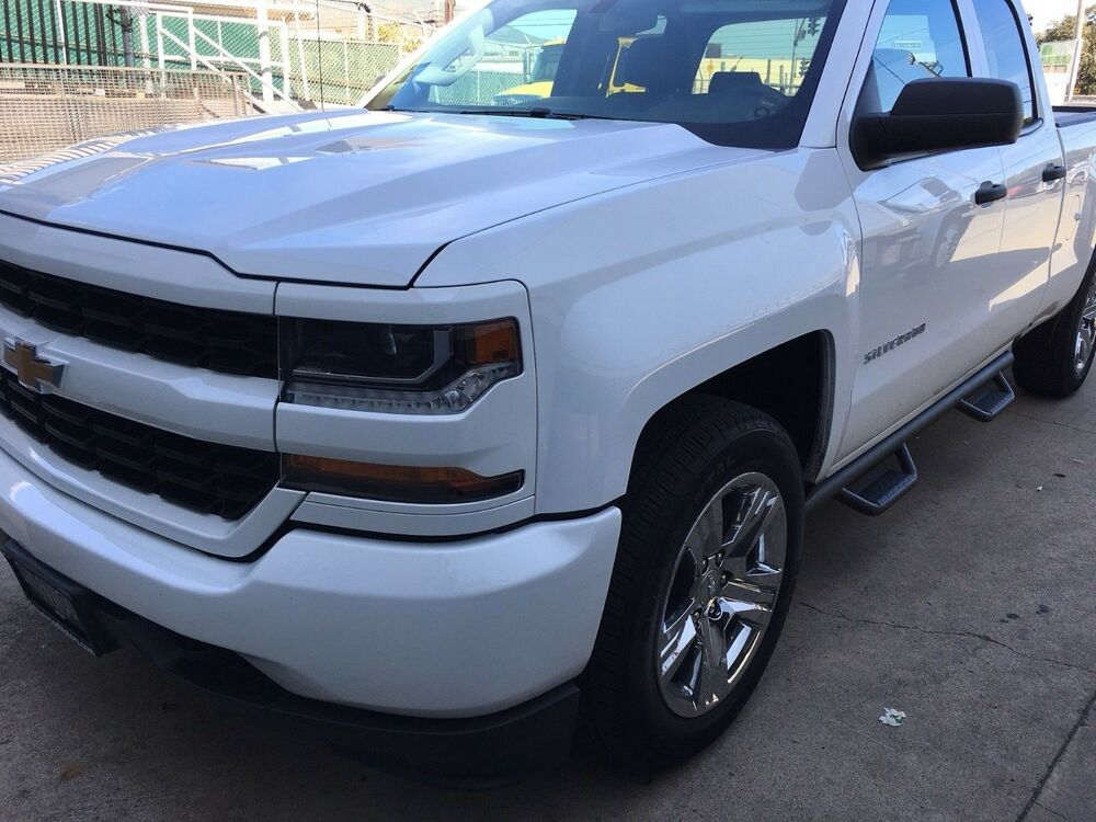 2007 2017 chevy silverado double ext cab dropped steps nerf bars running board ebay. Black Bedroom Furniture Sets. Home Design Ideas