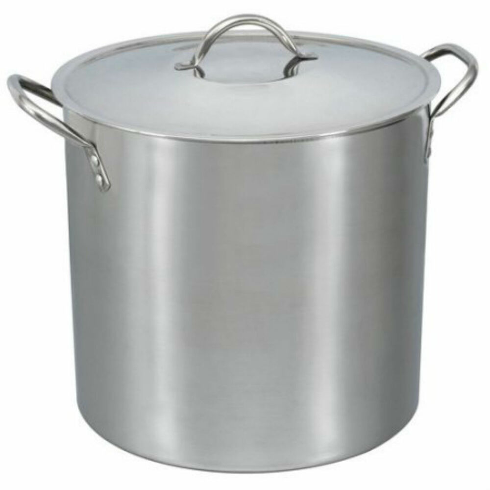 16 Qt Stainless Steel Stock Pot With Lid Cover Cookware