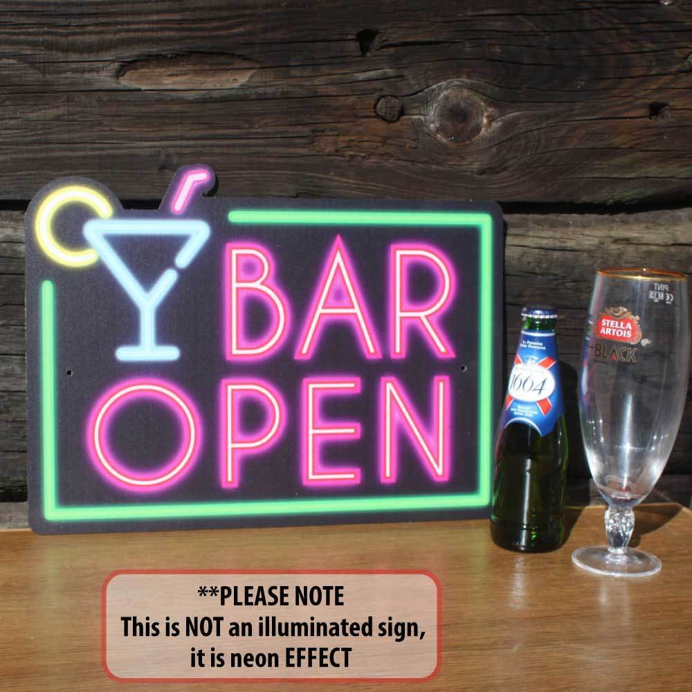 BAR OPEN SIGN, NEON SIGN EFFECT, Home Bar Sign,Funny Man