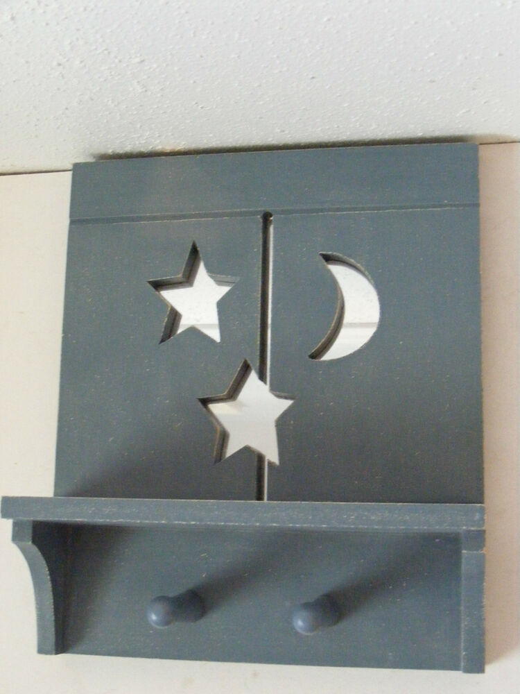 Blue Star Wall Decor : Blue moon stars mirror wood shelf wall hanging