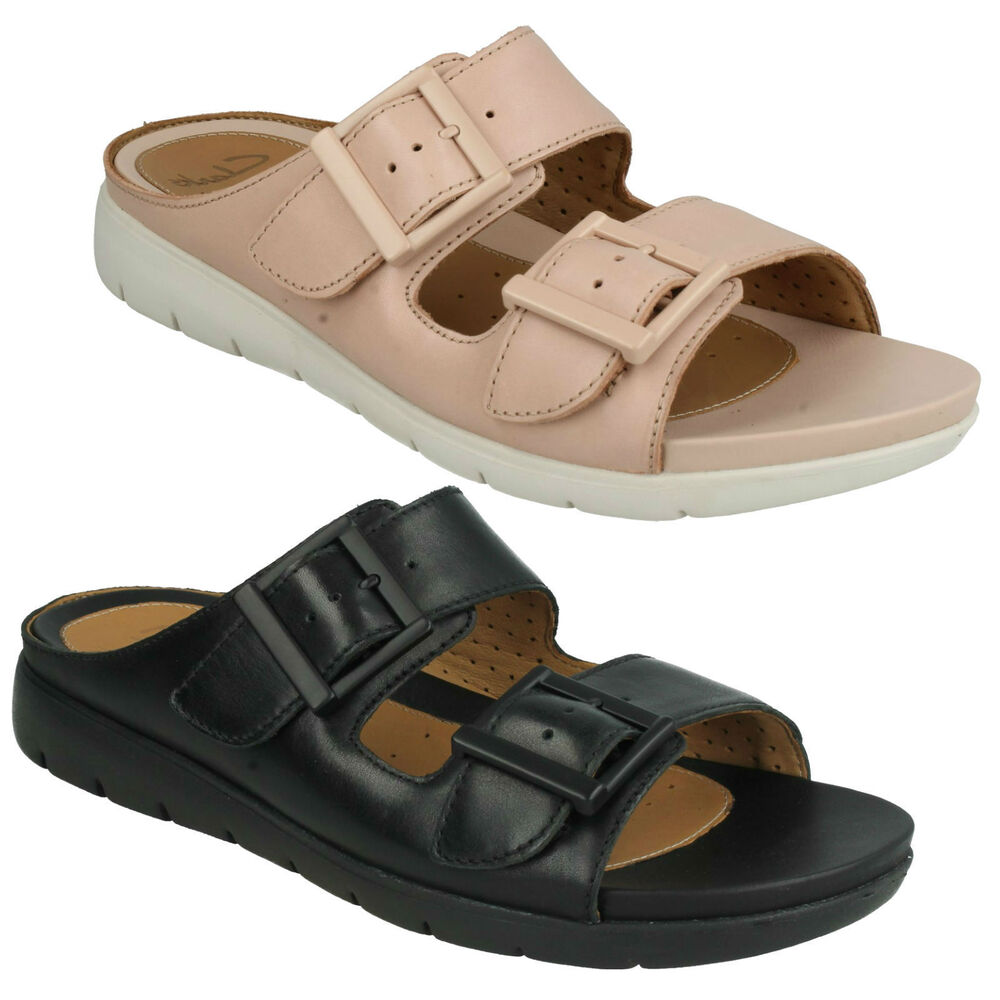 fe727cf344b UN HARLA LADIES CLARKS UNSTRUCTURED BUCKLE BEACH MULES LEATHER SUMMER  SANDALS
