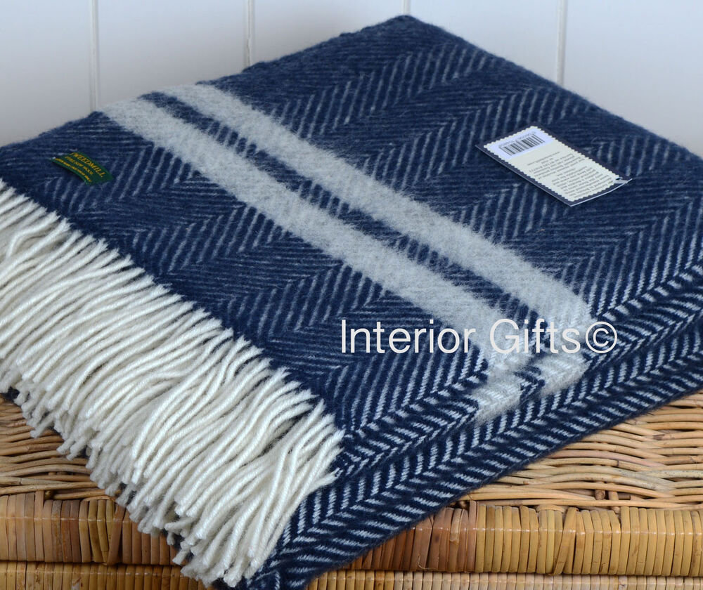 Pure New Wool Throw Blanket Navy Blue Amp Silver Grey