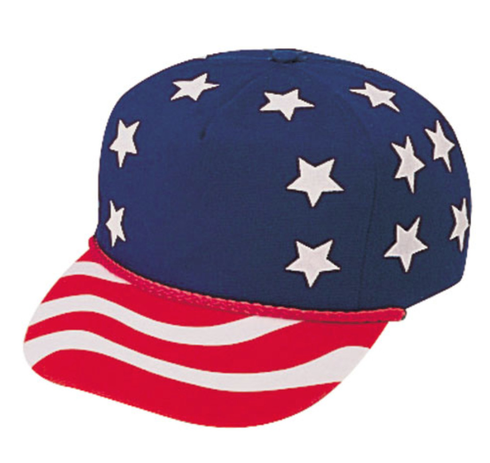 Red white blue stars usa flag american patriotic 5 panel for American flag fish hat
