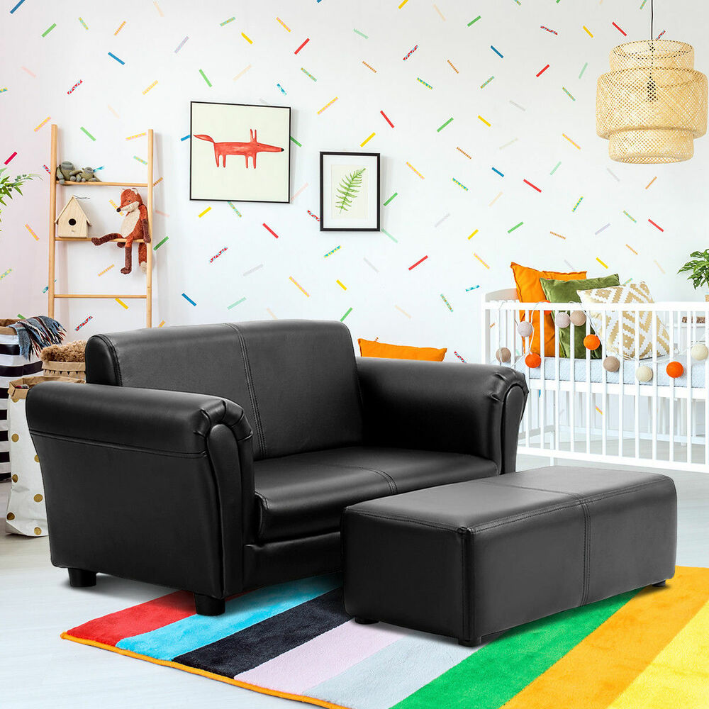 black kids sofa armrest chair couch lounge children birthday gift w ottoman ebay. Black Bedroom Furniture Sets. Home Design Ideas