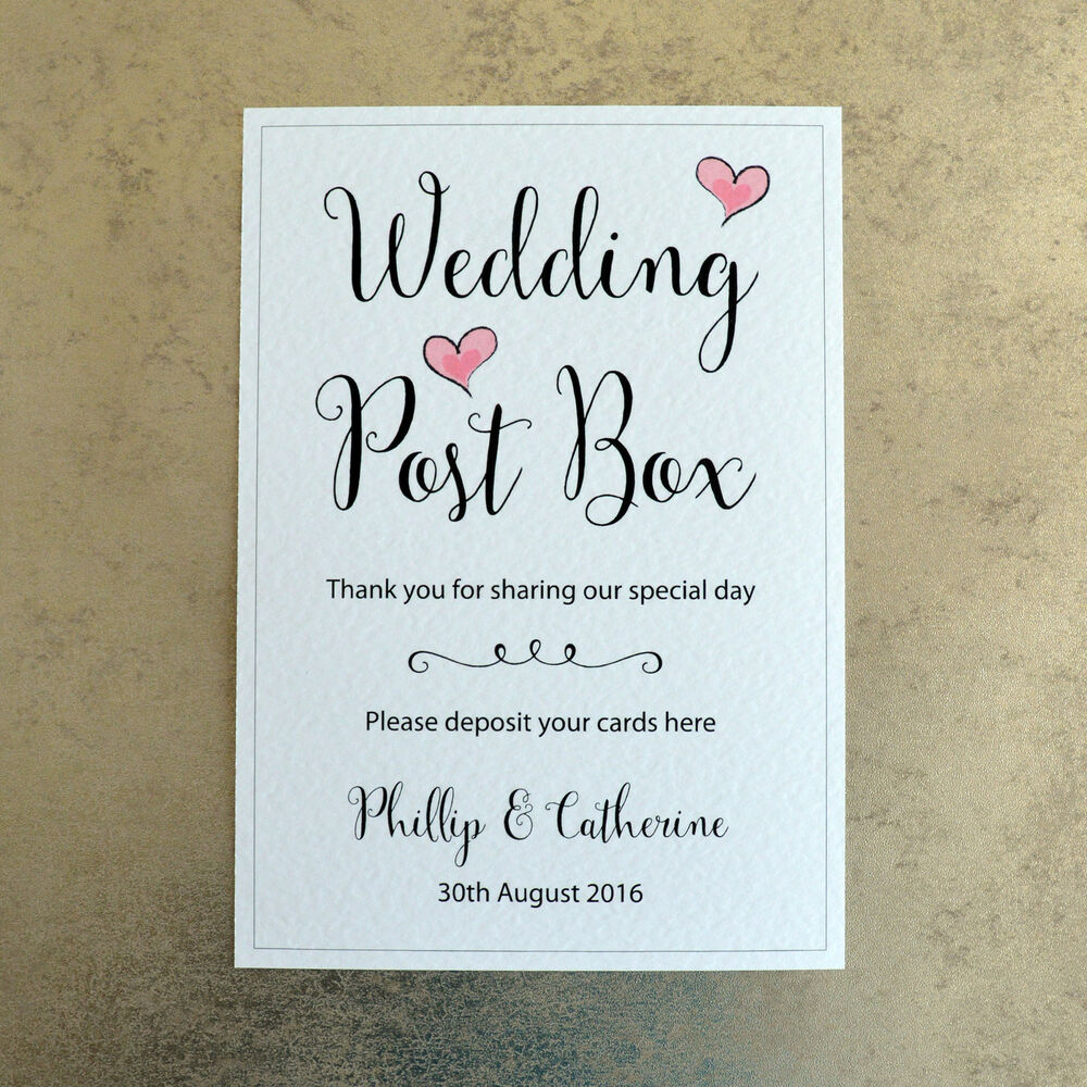 Wedding Gift Post Box: Wedding Post Box Card Sign Personalised With Bride & Groom