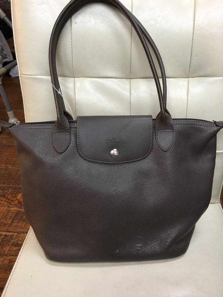 longchamp  u0026 39 le pliage cuir u0026 39  leather tote grey bag