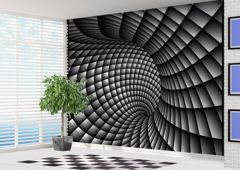 3d Abstract Black And White Swirl Wallpaper Wall Mural