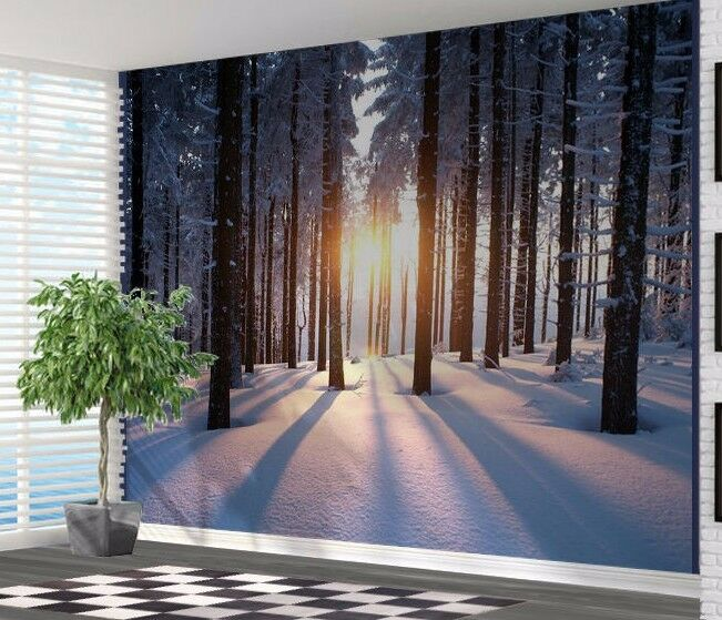 Wallpaper wall mural winter forest at sunrise snow winter for Winter wall murals