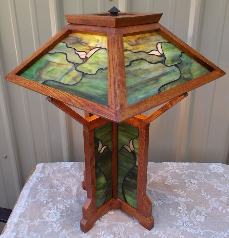 Tiffany style oak wood stained glass arts crafts mission for Arts and crafts glass
