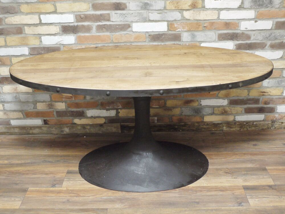 industrial retro vintage reclaimed wood metal oval dining kitchen table d4495 ebay. Black Bedroom Furniture Sets. Home Design Ideas