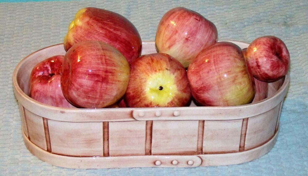 Italian Ceramic Fruit Bowl Basket Of Apples Centerpiece Ebay