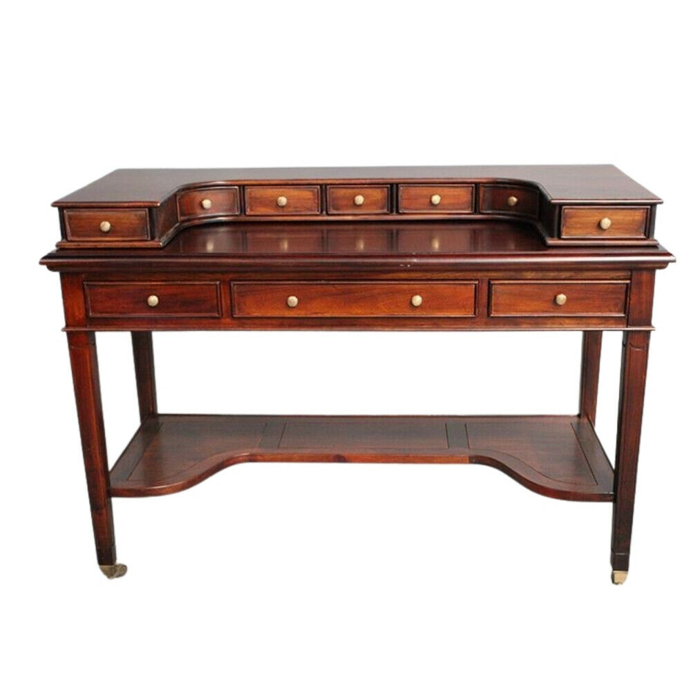 Mahogany Wood Desk ~ Solid mahogany wood writing desk with drawers antique
