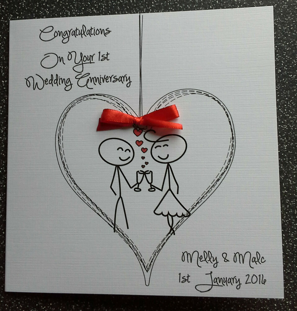 HANDMADE PERSONALISED FIRST WEDDING ANNIVERSARY CARD, OR OTHER HUMOUR ...