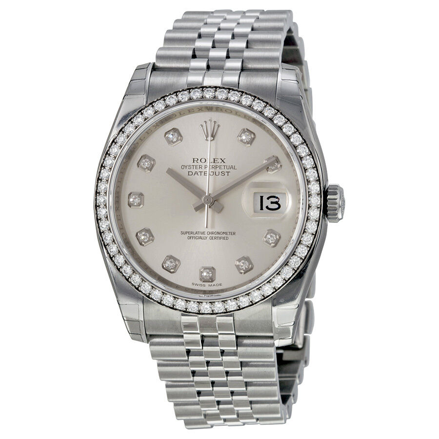 Rolex datejust automatic silver dial diamond stainless steel ladies watch ebay for Diamond dial watch