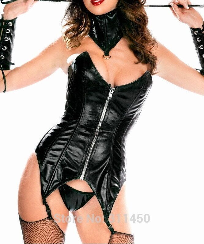 Faux Leather Waist Corset with Garter Belt,Neck Collar and ...