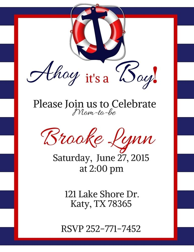 anchor  nautical  sailor baby shower invitation