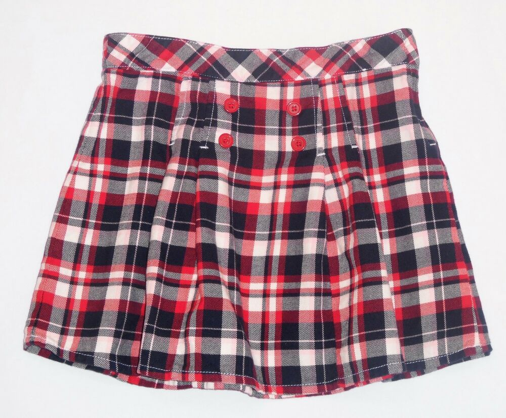 Gymboree Homecoming Kitty Pleated Red White Blue Plaid Skirt 10