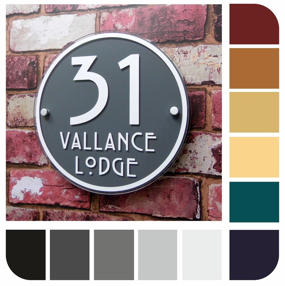 House signs modern address plaques door number round for Modern house number plaques