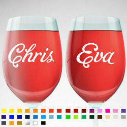 2x Personalised Name Vinyl Decal Stickers For Birthday Party Glasses Car Laptop