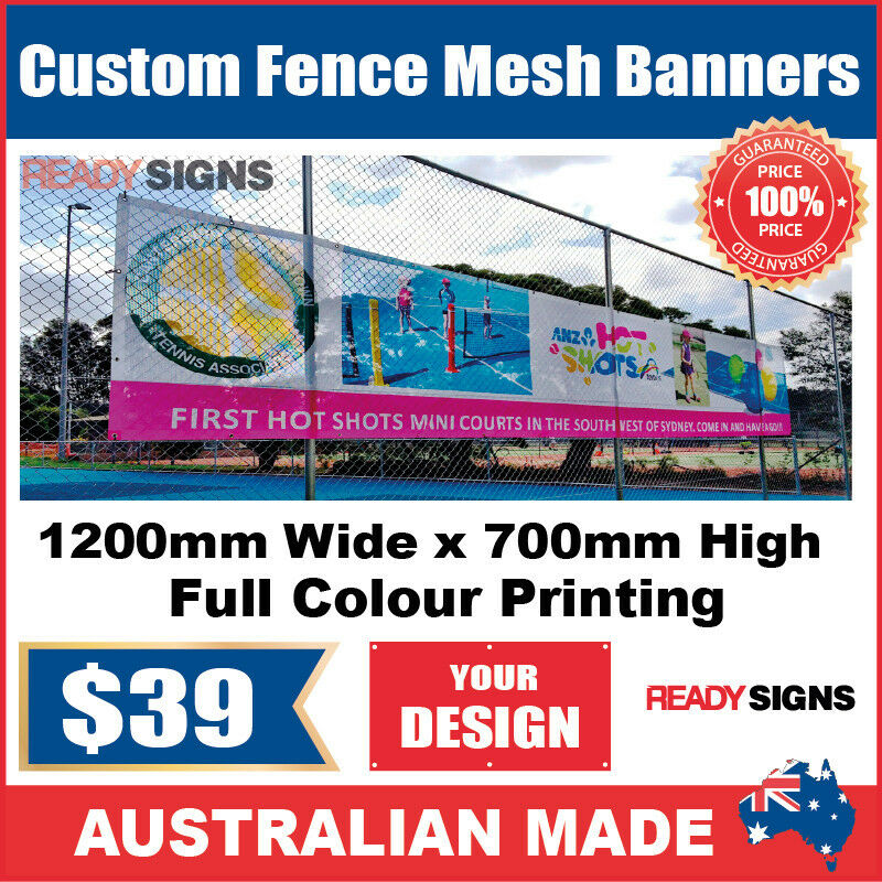 Custom Outdoor Fence Mesh Banner Sign Wrap 1200mmw X