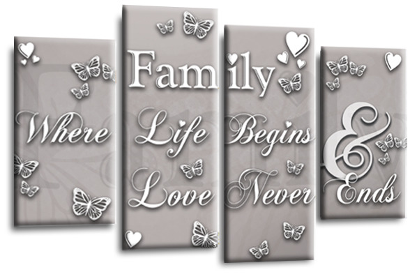 Family quote wall art canvas : Large family quote canvas picture silver grey white