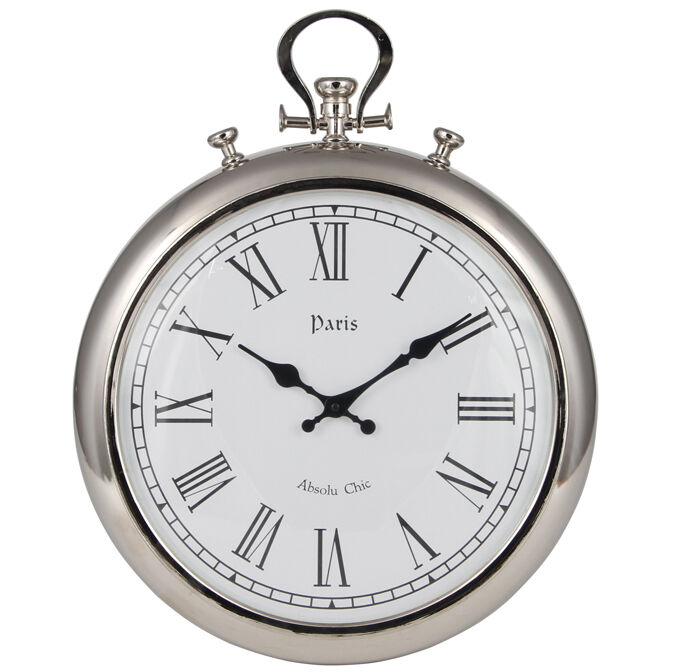 Silver Metal Stopwatch Wall Clock Roman Numerals Paris