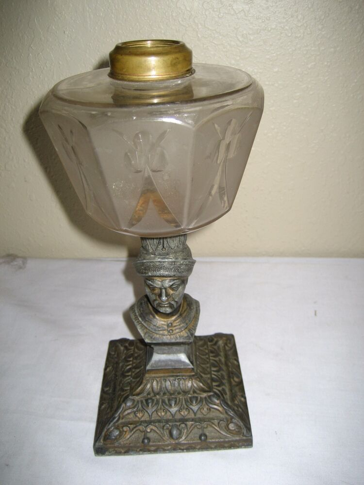 Antique Figural Base Kerosene Oil Lamp Ebay