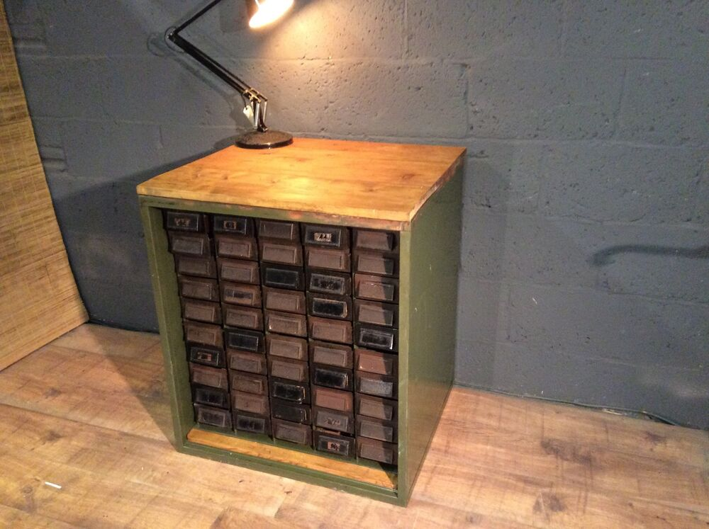 Vintage Industrial 50 Drawer Filing Cabinet Bench Worktop Workshop Storage Ebay