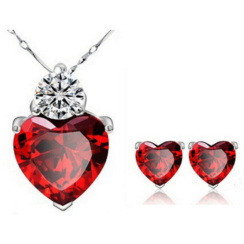 Crystal Rhinestone Heart Ring Necklace Pendant Love ...